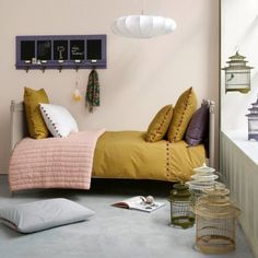 color palettes, pale pink, color pallets, kid rooms, guest rooms, bedroom, mustard yellow, anemones, girl rooms