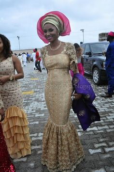 Nigerian Aso Ebi Style, Gold lace dress with Gold/pink Gele and Blue/gold embroidery Aso Oke Fabric Ipele.