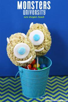 Monsters University Mike Wazowski rice krispie treats   thecelebrationshoppe.com #monstersu #ricekrispiestreats #monsters #monsterparty @Disney