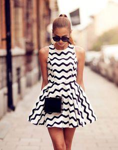 kenza-Street-style-2013-zigzag stripes in #blackandwhite #dress