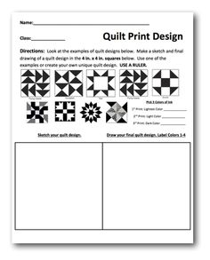 Planning Sheet and Lesson Plan : Quilt Prints