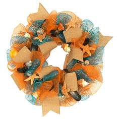 Wreaths For Door  Tangier Island Tropical #MeshWreath, $84.99 (http://www.wreathsfordoor.com/tangier-island-tropical-mesh-door-wreath/)