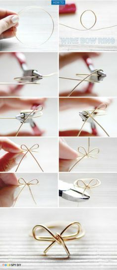 jewelry crafts, wire rings, diy crafts, wire bow, bridesmaid gifts, diy jewelry, bows, diy rings, bow ring