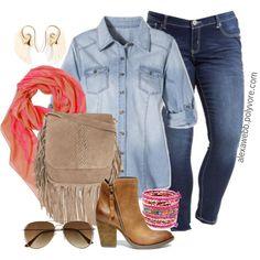 "#plus #size #outfit #fashion ""Plus Size - Denim on Denim"" by alexawebb on Polyvore"