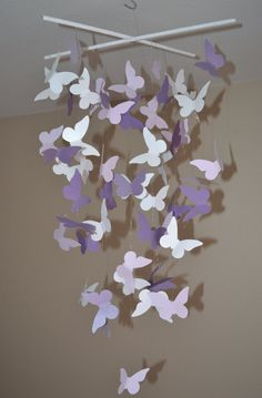 Butterfly lavender white crib mobile love!