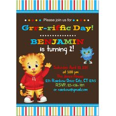 Daniel Tigers Neighborhood Digital Birthday Party Invitation, DIY Print. $6.00, via Etsy.