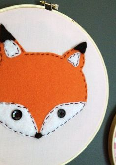 Woodland Nursery - Embroidery Wall Decor- maybe I could make something like this diy ideas, woodland nursery, woodland nurseri, wall decor, fox, felt, embroideri wall, baby boys, embroidery hoops