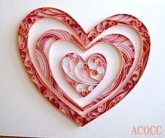 Hearty Quilling wall art by aCoCC on Etsy
