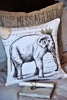 Pillow Cover Cotton and Burlap Throw Pillow. $35.00, via Etsy.