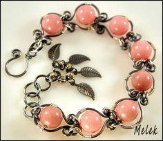 Pink Jade Wire-Work Bracelet by melekdesigns, via Flickr