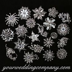This lot of 20 eclectic crystal brooches is perfect for creating a beautiful brooch bouquet, decorating wedding centerpieces or giving as bridesmaid gifts. www.yourweddingcompany.com