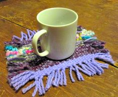how to loom weave a coaster with a loom you make from cardboard; great #kidscraft @savedbyloves