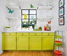 butterfli, chartreuse paint, kitchen cabinetry, colorful kitchens, wall decal, painted cabinets, small kitchen, how to color your tips, kitchen cabinets color