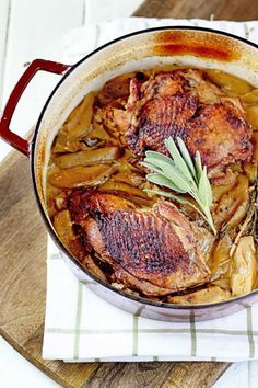 Hard Cider Braised Turkey Thighs and Apples from insockmonkeyslippers.com