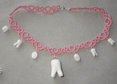 You can't help but smile at this!  Tatted lace necklace with polymer teeth tooth by TattingByWendy, $37.00