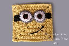 perfect knot, minion, guy appliqu, crochet squares, goggl guy, applique patterns, granni squar, granny squares, crochet patterns