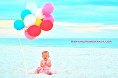First Birthday Photos at the Beach!  I also share some before/after pictures so you can see how terrible the lighting truly was. Some simple photo editing can make a world of difference!  #balloons #birthday #harvardhomemaker