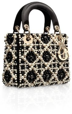 Dior Black Embroidered with Pearls Lady Dior Micro Bag