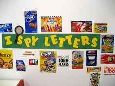 I Spy Letters::I love the idea of using real life items and setting up a wall...cute!
