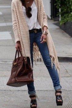 cozy t-shirt + jeans look