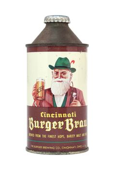 vintage beer can from The Burger Brewing Co., Cincinnati, OH, 1940s/1950s, featured in Beer: A Genuine Collection of Cans http://www.amazon.com/gp/product/0811875415/ref=as_li_tf_tl?ie=UTF8=liberalsprink-20=as2=1789=9325=0811875415 via http://www.chroniclebooks.com/blog/2012/01/24/cheers-to-beer-can-appreciation-day/