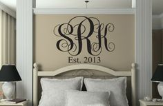 Simple monogram in vinyl lettering...such a classic look