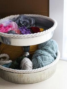 make usable storage with thrift store goodwill items..tiered silver trays