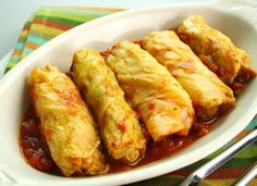Dinner Recipe: Cabbage Rolls - *I also ADD onion powder & a little Basil to the Meat mixture - as well as Basil to the slightly sweetened Red Sauce(otherwise known as, canned Tomato Soup + Diced Tomatoes).