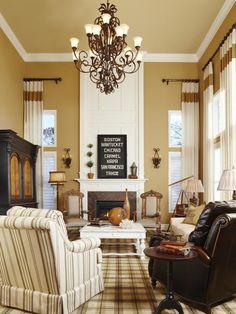 wall colors, living rooms, living room colors, fireplac, window treatment, light fixtures, room paint colors, live room, design idea