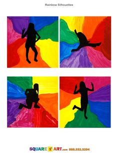 Rainbow Silhouettes www.square1art.com/fundraisers #square1art  @Square 1 Art