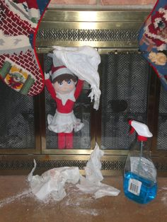 300+ Elf on the Shelf Ideas - Trying to clean for Santa & got stuck in the fireplace