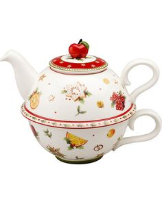 """-Villeroy and Boch-    villeroy and boch winter bakery delight tea for one  $50.00 at Bloomingdales    Porcelain Dishwasher and microwave safe Imported 6""""; teapot holds 10 oz.; cup holds 8 oz."""