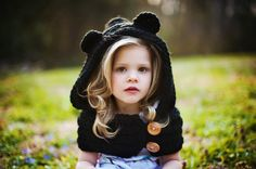 Girls Cowl Hooded Cowl Bear Cowl Crochet Bear Cowl