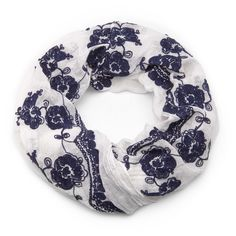 Boho Infinity Scarf in White and Navy Blue