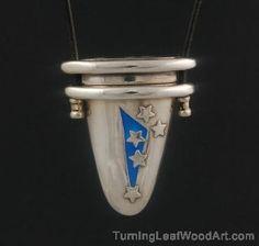 Fine Silver Lidded Box Pendant With Enamel By Pam East: $475