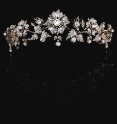 Natural pearl and diamond tiara, late 19th century - Sothebys
