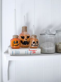 These jack-'o-lantern candle holders are too cute!