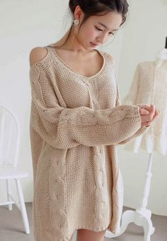 Warm Beige Off The Shoulder Chunky Knitted Sweater. Cozy Knit Top