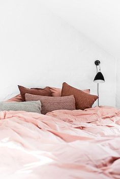 sleeping on a pink c