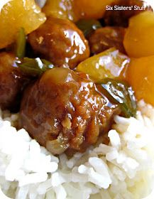 Slow cooker Hawaiian meatballs  32 oz. package of precooked, frozen meatballs (you could use turkey meatballs)  13.5 oz can of unsweetened pineapple chunks (put juice aside)  1 large green pepper, diced  1 cup of brown sugar  2 Tbl. cornstarch  2/3 cup of white vinegar  2 Tbl. Soy sauce  Cook on low for 3-4 hours