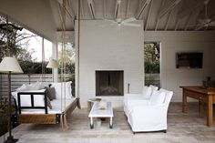 pool side, porch swings, outdoor fireplaces