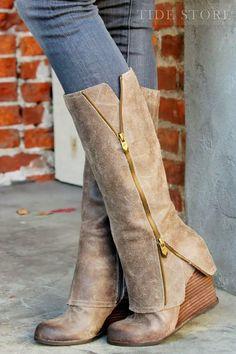 #Wedge #Knee #Knee-High Glamerous Wedge Heels Knee-High Boots with Zipper