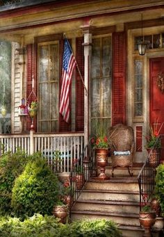 Country Front Porch & Our American Flag.
