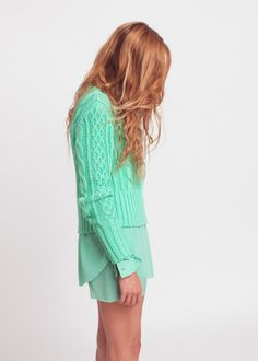 pastel, fashion, mint green, hair colors, strawberry blonde, knit sweaters, outfit, strawberri, aqua