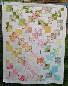 Moda Hunky Dory charm pack quilt using disappearing 9 patch quilt blocks tutorial