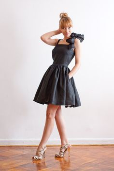 Oversize Bow Linen Dress with Pockets in Black by LanaStepul, $189.00