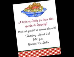 10 Italian Spaghetti Dinner Birthday Party by wackykracker on Etsy, $10.00