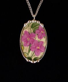 Antique violets chintz broken china jewelry oval necklace pendant made from a broken plate