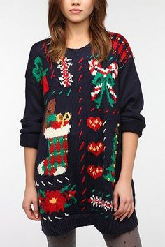 "An ""Ugly"" Christmas sweater from the vintage URBAN RENEWAL collection at Urban Outfitters! 