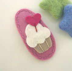 NO SLIP Wool felt hair clip Cupcake with a heart by MayCrimson